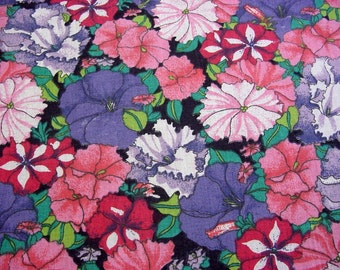 1.2 yd Mod Petunia Patch Vintage 70s Fabric -Cotton Quilt Clothing Home Decor -Pink Purple Lavender Floral 44 x 44 -Great for Table Topper