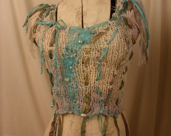 Palace of Winds Collection Harminder Beaded  Hand Knit Tank Top With Vintage Silk Fibers
