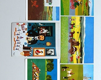 """Vintage Josef Wahl Cards - German Naive Folk Art - Set of 6 German Postcards Prints Reproductions - 4"""" by 6"""" - from Munchen Munich Germany"""