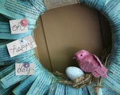 Paperback Book Pages Wreath with Bird & Nest -- Oh Happy Day! Great for Baby Showers