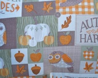 Autumn Harvest Pillow Cover, Fall, Decorative Toss Pillow, Accent Pillow, Owl, Pumpkin, Apple, Leaves, Acorn, Bird, Fits 12x16 inch form