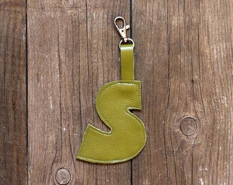 Olive green leather key fob S -   Luggage Tag monogram initial letter