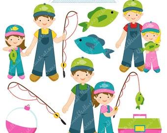 Fishin Buddy Girl Cute Digital Clipart - Commercial Use OK - Fishing Clipart, Fishing Graphics, Girl Fishing