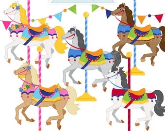 Carousel Horses Cute Digital Clipart, Commercial Use OK, Carousel Graphics, Carousel Horses, Carousel Clipart
