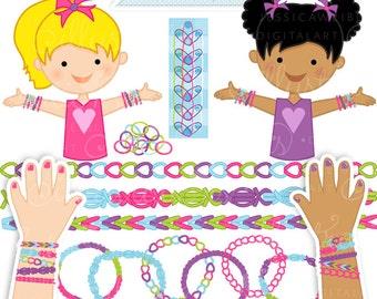 Loom Fun Girls Cute Digital Clipart - Commercial Use OK - Rubber Band Bracelet Clipart - Mermaids - Girls Craft Graphics