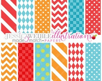 Made 2 Match First Birthday Boy Crabs Cute Digital Papers - Commercial Use Ok - Red Pattern Papers, Red Blue Orange Papers, Chevron Papers