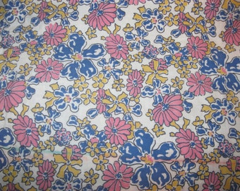 Vintage FLoral Fabric , Flowers, Calico, Pink and Blue, Cotton, Quilting