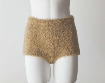 "Fuzzy ""hamster"" shorts. Hand knitted high waisted seamless fur-like look in beige"