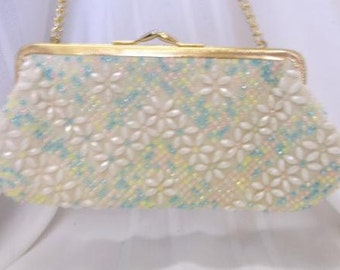 Vintage Hand Made Sue Sang pastel Multi Color Beaded Purse