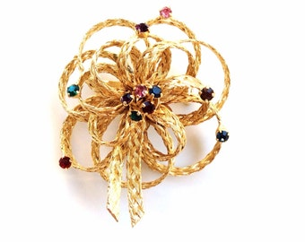 vintage Flower brooch multiple color rhinestones gold puffy ribbon pin