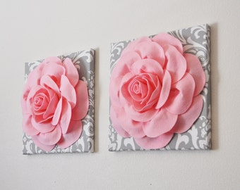 "Princess Nursery  TWO Wall Hangings Light Pink Rose on Gray and White Damask 12 x12"" Canvas Wall Art- Baby Girl Nursery Wall Decor-"
