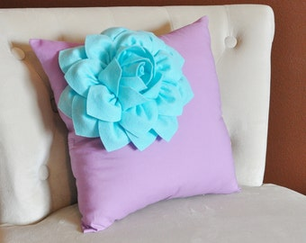 Light Aqua Corner Dahlia on Lilac Pillow 14 X 14 -Flower Pillow- Baby Nursery Pillow