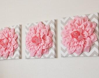 "BABY Nursery Wall Decor -- Set of THREE Light  Pink Dahlia on TAUPE and White Chevron 12 x12"" Canvas Wall Art"