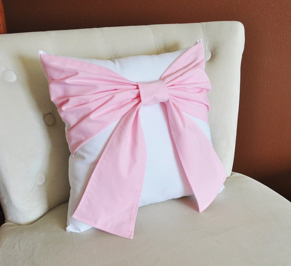 Light Pink Ruffle Throw Pillow : Decorative Throw Pillow Baby Nursery Pillow Light Pink Bow