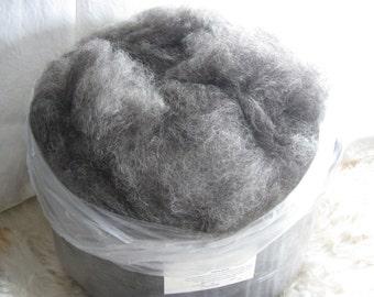 Wool & Hemp, Primitive Biota Spinner's Web - 4 oz. - Natural hand spinning, felting fiber, dark grey and natural