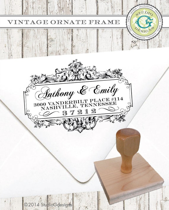 Return Address Stamp – 2x3 in VINTAGE ORNATE FRAME – Personalized  Wedding Paper Goods