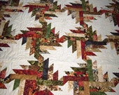 "Stunning Robert Kaufman Imperial prints-Shades of  Autumn-81"" X 92""-Quilt-Patchwork Quilt-Made in USA by MJ Quilts-Free Shipping"