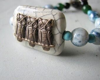 Natural stone bracelet | beaded | owl charm | brass | for her | handmade gift