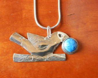 Sterling Perching Bird Pendant with Round Stone Cabochon Berry Fruit - Entirely Handmade, Forged, Silver Silversmithed