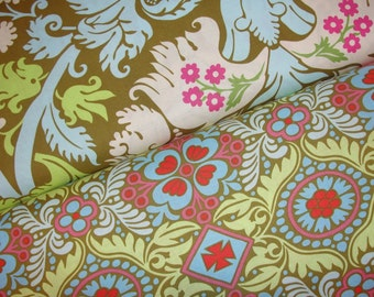 Amy Butler Fabric, Belle Collection, Acanthus and Kashmir, Full Yard Set, 2 Yards Total