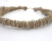 Natural Beige Linen Necklace