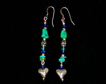 Turquoise Nugget & Sterling Silver Heart Dangle Earrings