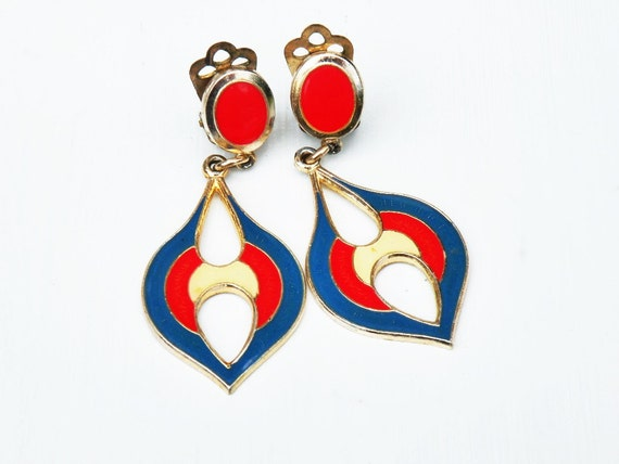 1960s Mod Fashion Vintage Dangle Earrings
