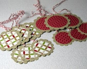 Price Slashed - Gift Tags Christmas Handmade 12 Assorted Hanging Xmas Gift Tags Scrapbooking Tags Cardmaking Tags Christmas Tree Ornaments