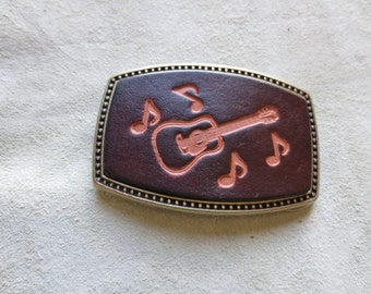 Leather Belt Buckle with Guitar