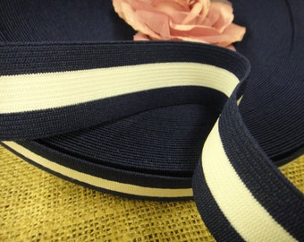 "5 yards 1 1/4"" width navy blue and white elastic trim / navy blue and white braid elastic"