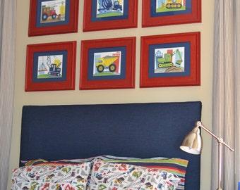 Construction truck art, little builder bedding art , construction nursery art prints set matted navy