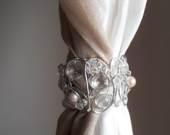2 decorative curtain tiebacks, silver color, crystals clear Swarovski drapery holder tie backs curtain