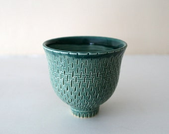 "Teal Carved Cup / Wheel Thrown Stoneware Ceramic / Blue Green Cup with Driving Raindrops / ""IT'S POURING"""