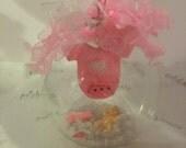 Baby girl ornament, baby girl glass globe ball keepsake, newborn, baby shower decoration, centerpiece, first birthday or first christmas