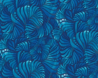 Winter Blues from Fabri-Quilt - Blue Botanical/Leafy Quilt Fabric