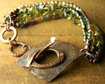 Rustic Jewelry Olive Green Bracelet Copper Boho Bohemian Beaded Handmade OOAK