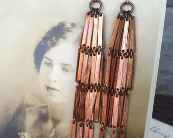 copper dangles / copper jewelry / copper earrings / COPPER BAR DANGLES