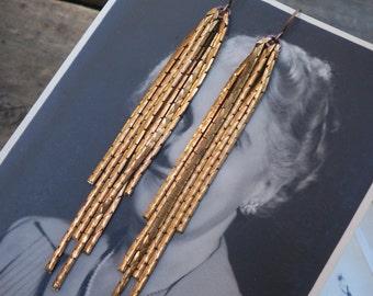 vintage brass / brass earrings / vintage earrings / VINTAGE BRASS FRINGE