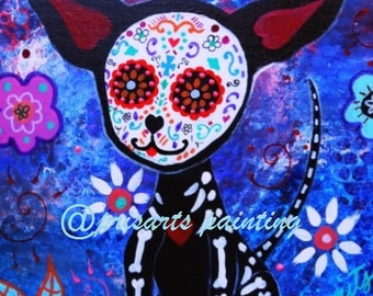 Mexican EL PERRO day of the Dead Chihuahua Dog Painting Giclee PRINT by Pristine Turkus 11 x 14