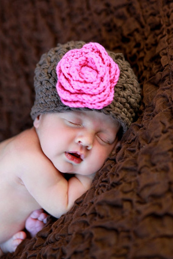 Newborn Baby Hat, Infant Hats, Brown Baby Girl Hat, Crochet Baby Beanie, Brown, Pink, Cotton, 0 to 12 Months