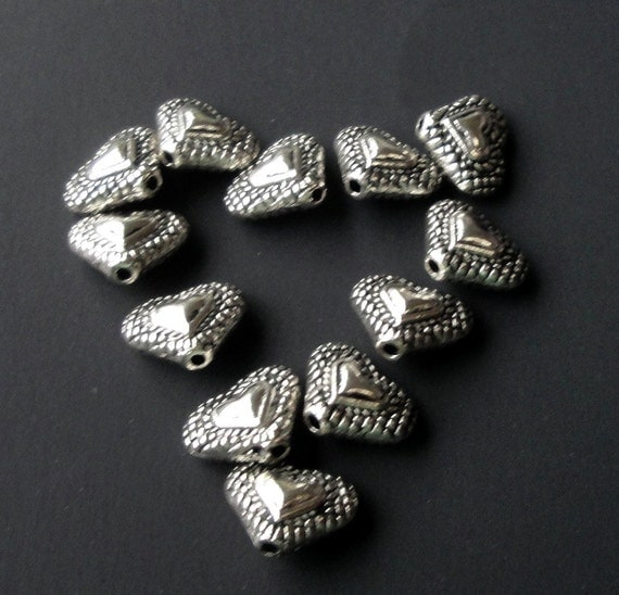Silver Heart Charms - Antique Silver - 2 sides Charm Bead - Bracelet Charm Spacer - 12mm - 25 Pcs - DIY Jewellry - Easter Metal Supplies