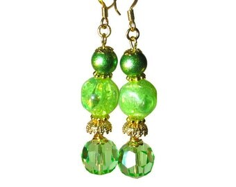 Handmade Juicy Lime Green Earrings,  Vintage Bead Dangle