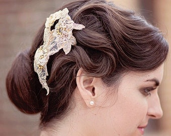 Gold Lace Headpiece, Beaded Hair Comb, Bridal Headpiece, Sequin Accessories, Wedding Hair Comb, Bridal Hair Piece
