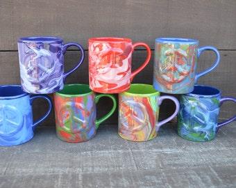Swirly Tie Dye Ceramic Peace Sign Mug - 14 oz. Capacity - OOAK Hand Painted Mug - Sale