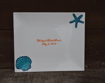 Custom Beach Wedding Signature Guestbook Platter - Personalized with Starfish and Seashells - Turquoise
