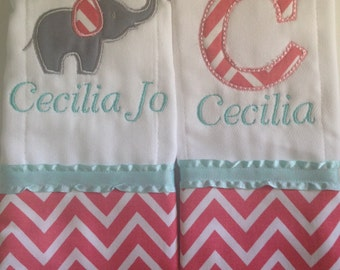 Set of 2 personalized custom monogrammed burp cloths coral chevron with mint and elephant