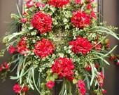 Wreaths, Red Summer Wreath, Hydrangea Door Wreaths, Boxwood Wreath, Red Wreath, Etsy Wreaths, Summer Door Wreath