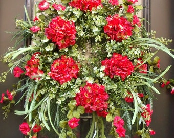 Wreaths, Red Summer Wreath, Hydrangea Door Wreaths, Boxwood Wreath, Red Wreath, Etsy Wreaths, Summer Door Wreath
