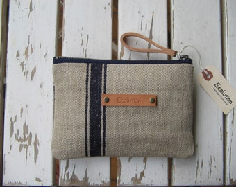 French Linen Toiletry Bag - Handmade from antique French Linen.