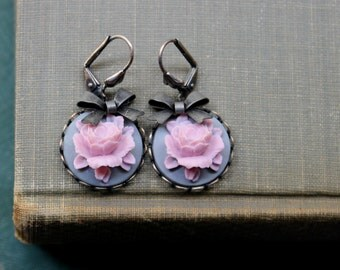 Romantic, Soft Pink & Grey, Wedding, Spring, Summer, Flower Cabochon and Bow Earrings